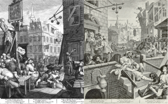 "William Hogarth, ""Beer street and Gin lane"", 1751"