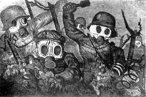 Otto Dix, La Guerre : Troupe d'assaut avançant sous le gaz, 1924