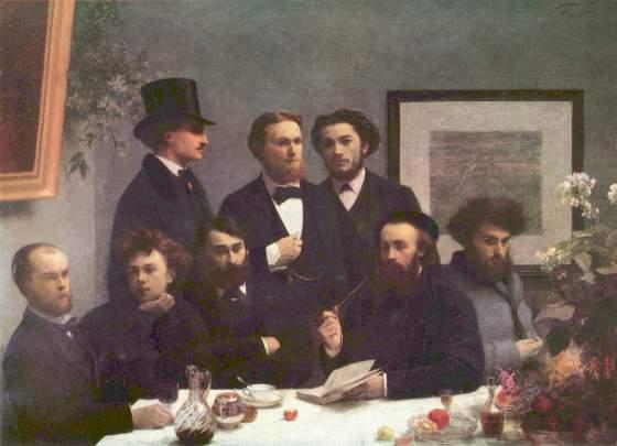 """""""Un coin de table"""", assis à gauche : Paul Verlaine et Arthur Rimbaud (Henri Fantin-Latour, 1872, musée d'Orsay)"""