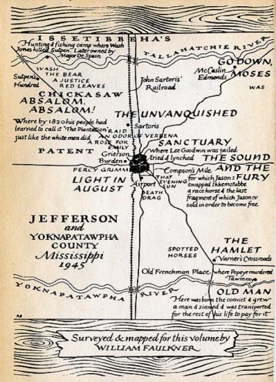 Un plan de Yoknapatawpha county réalisé par Faulkner en 1945. Y sont indiqués les lieux de déroulement de ses principaux romans.