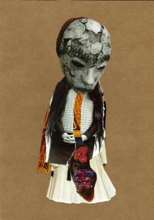 """""""La mariée était en sang"""", Collage sur papier, 2013"""