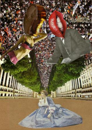"""""""In Wonderland (le rêve d'Alice)"""", collage sur papier, 2012"""
